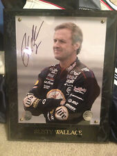 NASCAR 14 X 11 PLAQUE SIGNED WITH COA AND PICTURE NEW RUSTY WALLACE POTA
