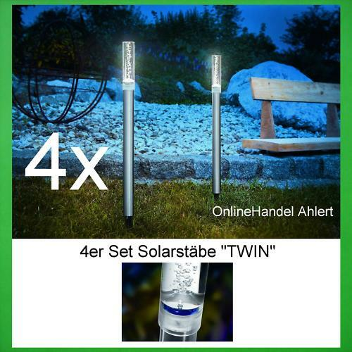 4x LED Lámpara Solar Barras de Diseño Varilla Luz Jardín