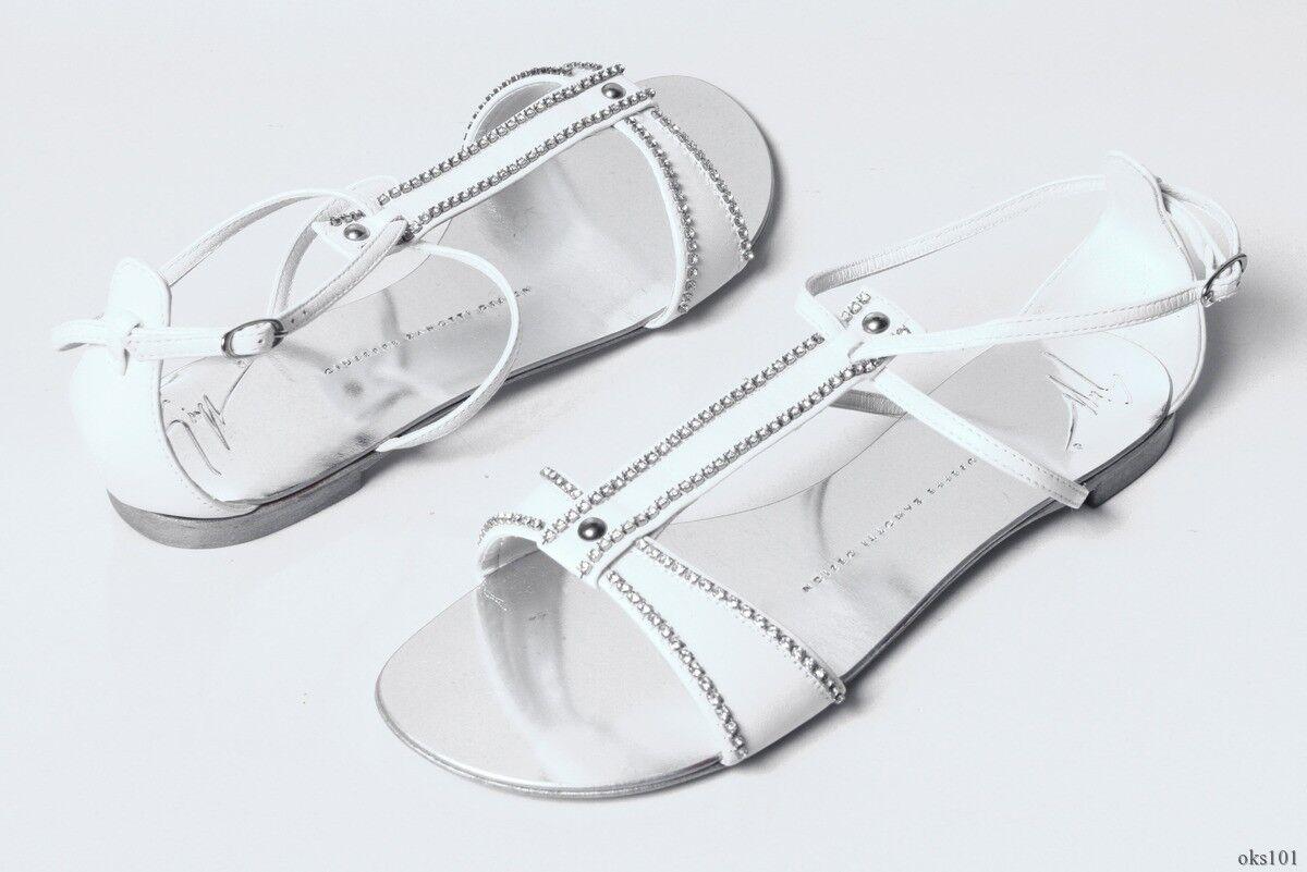 new $695 Giuseppe ZANOTTI white JEWELED T-strap fabulous sandal flats shoes - fabulous T-strap 049262