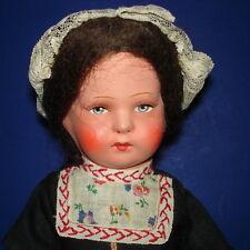 "Vintage 11"" Paper Mache & Composition Dutch Travel Ethnic Doll 1920's-on"