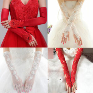 Ladies-Evening-Prom-Wedding-Bridal-Party-Fingerless-Pearl-Lace-Satin-Long-Gloves