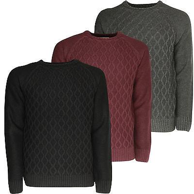 Mens Winter Jumper Soulstar Casual Plain Pattern Smart Knitted Sweater Top New