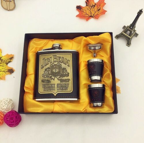 Jim Beam Flachmann Set 7 oz Edelstahl Leder Flasche Becher Whisky Schnaps Box