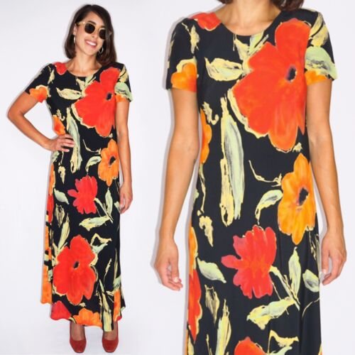 Vintage 1990's Orange Floral Dress Size 4-6 (S )