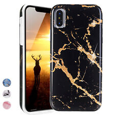 For Apple iPhone XS/X/8/Plus Marble Pattern Rubber TPU Protective Phone Case