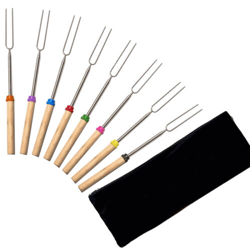 8PCS Telescoping BBQ Marshmallow Roasting Sticks Forks Smore Skewers Barbecue