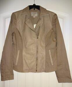 NWT-LUCKY-BRAND-WOMEN-039-S-Size-Medium-M-Tan-Leather-amp-Linen-Jacket