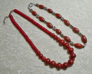 VINTAGE TO NOW RED FAUX CORAL STONE BEADED BOHO NECKLACE LOT