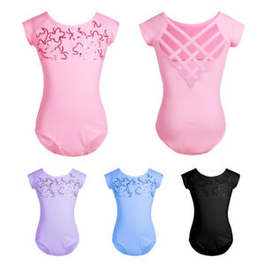 947fd65ec9a1 Kid Girl Sequined Ballet Dance Bodysuit Strappy Back Gymnastics ...