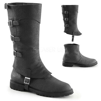Black Steampunk Motorcyle Medieval Soldier Renaissance Fair Costume Boots Men 10