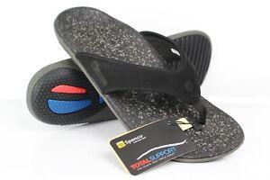 Spenco-Men-039-s-Yumi-Leather-Flip-Flop-Orthotic-Sandals-Black-Leather