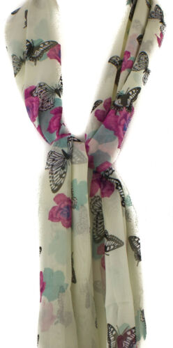 Butterfly /& Rose Flower Print Soft Chiffon Scarf Ladies  Fashion Wrap Stole