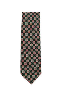 Finamore Napoli Dark Green Foulard Silk Tie - x - (1348)