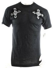 NWT ARCHAIC by AFFLICTION men blk short sleeve crosses tribal crewneck TSHIRT *S