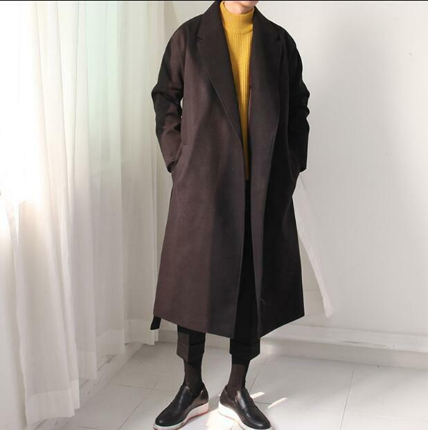 Cardigan Belted Outwear Oversize Coat  Men's Wool Blend Cotton Padded Long @BT02