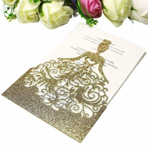 50x Glitter Laser Cut Pocket Wedding Invite Invitation Card Free Custom Envelope