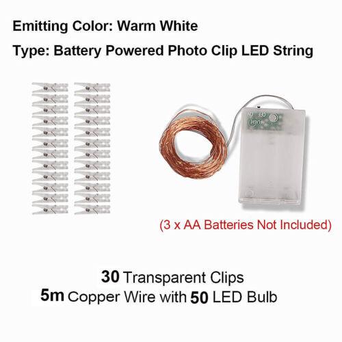 LED Card Photo Holder Clips String Fairy Lights Holder Hanging Christmas Lights
