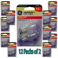 Ge Lighting Ge Nightlight Clear 4w 12 Packs Of 2 Bulbs