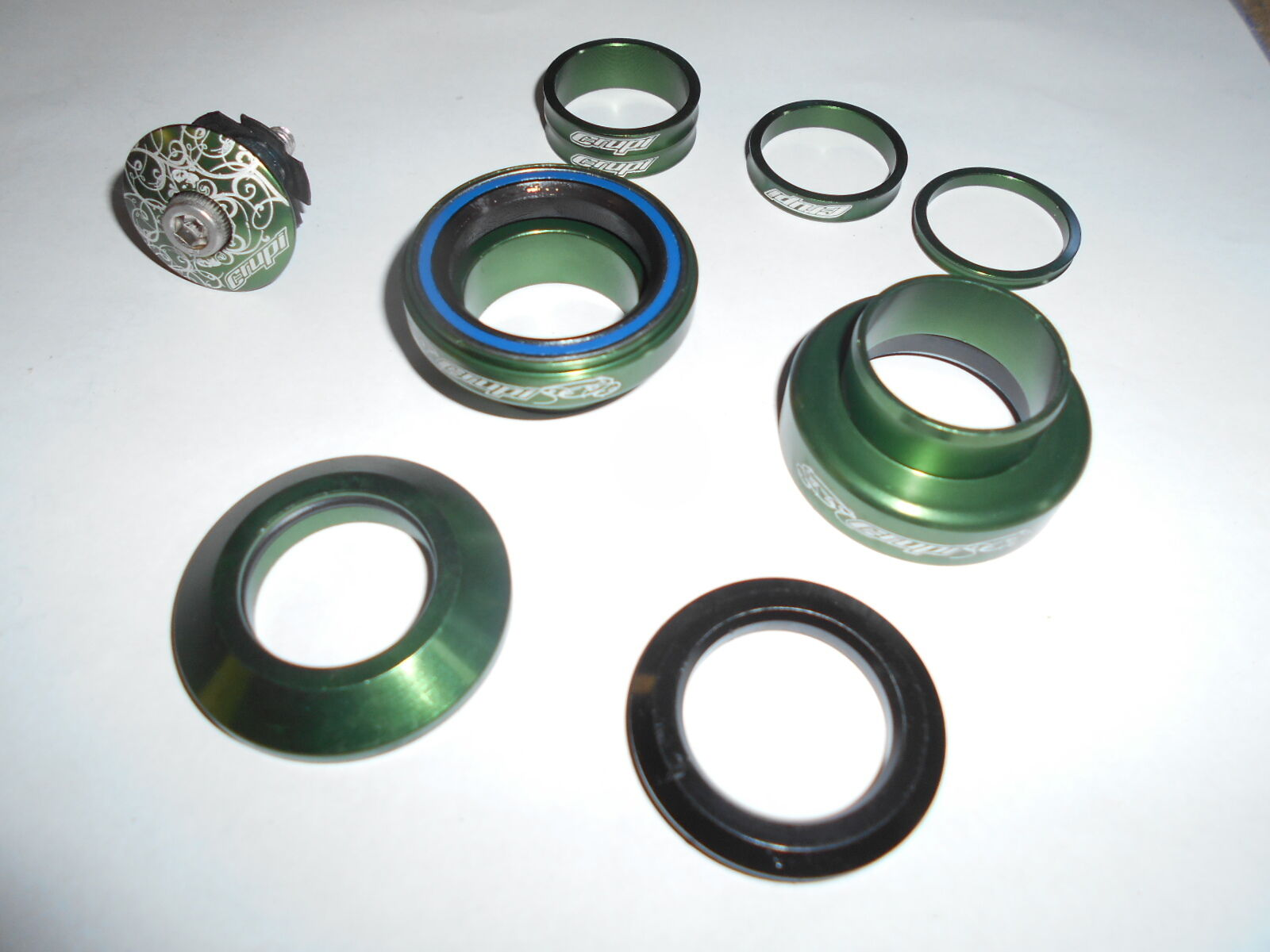 New Crupi Anodized Green Aluminum Sealed Bearing 1  Threadless Headset BMX