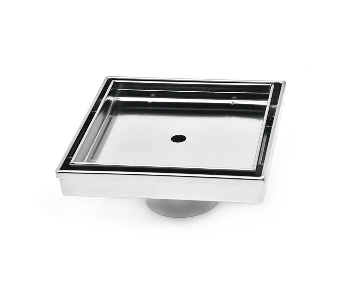 Tile Insert Point Drain Square Drain 6  316 Stainless Steel with Rubber fitting