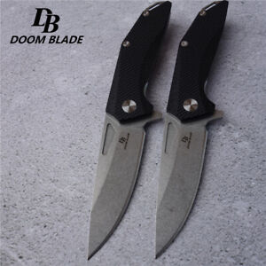 Knives-D2-Pocket-Folding-Knife-Tactical-Survival-Camping-Hunting-Flipper-G10-EDC