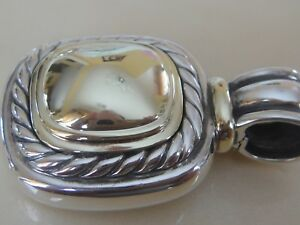 $1750 David Yurman 14k, Sterling Silver Extra Large Albion Gold Dome Enhancer-afficher Le Titre D'origine Blanc Pur Et Translucide