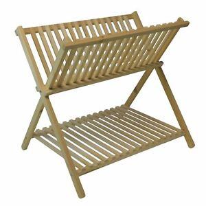 2-Tier-Folding-Wooden-Dish-Drainer-Rack-Storage-Plate-Holder-Kitchen-Sink-Stand