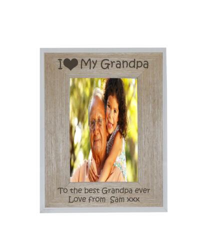 I Heart Amour-Mon Grand-père 4 x 6 Cadre Photo Blanc Bord Cadre en Bois-Gravure Gratuite