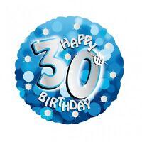 "Blue Sparkle Age 30 30th 18"" Birthday Helium Foil Balloon"