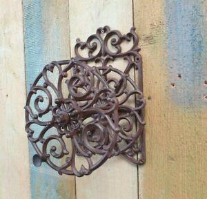 Schlauchhalter-Schlauchrolle-Gusseisen-Garten-Antik-Vintage-Neu-Wand-rustikal