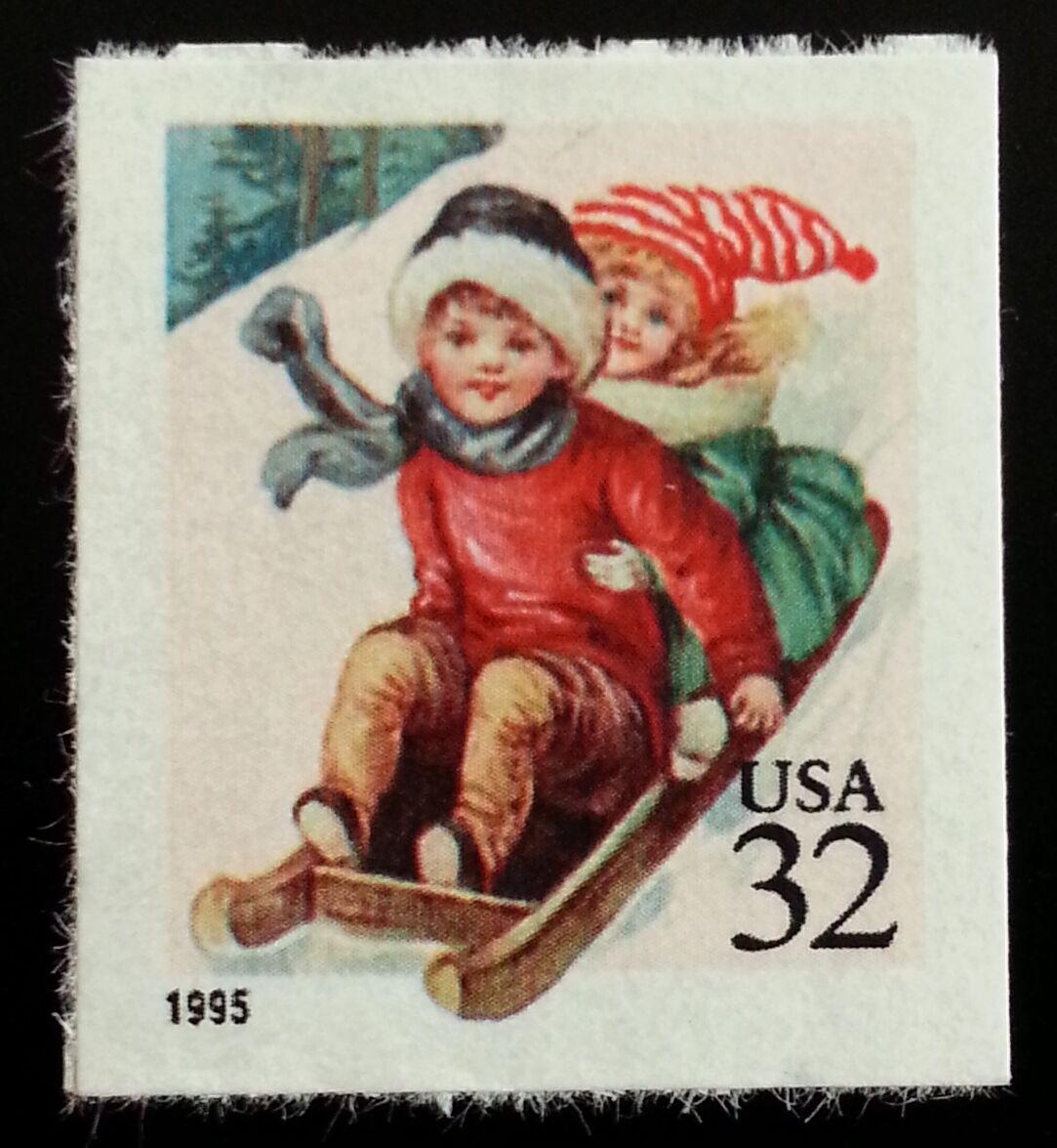 1995 32c Children Sledding, self-adhesive Scott 3013 Mi