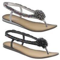 Womens Ladies Sandals Diamante Summer Beach New Toe Post Flat Wedding Shoes Size