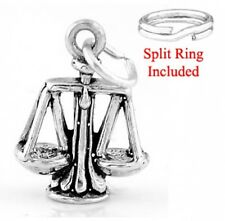 "SILVER ""SCALE OF JUSTICE WEIGHT "" CHARM WITH SPLIT RING"
