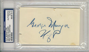 George-Munger-signed-3x5-Index-Card-PSA-DNA-Autographed-Penn-d-1994