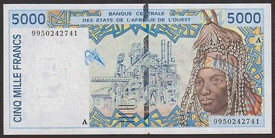WEST AFRICAN   Ivory Coast 5000 Francs1999  P 113A i  Uncirculated Notes RARE