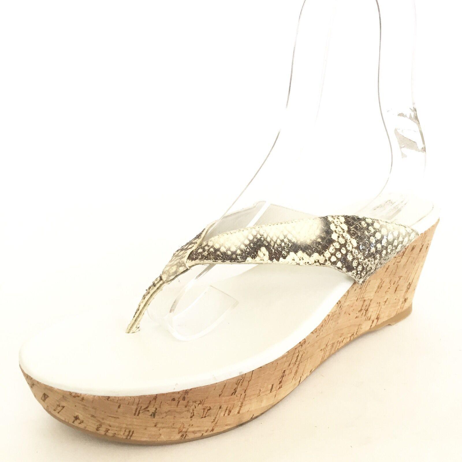 NEW Stuart Weitzman Clasp Cork Wedge Thong Sandal Grey Snake Women's Size 10 M