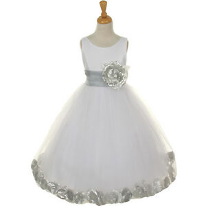 White silver flower girl dress bridesmaid birthday dance wedding image is loading white silver flower girl dress bridesmaid birthday dance mightylinksfo