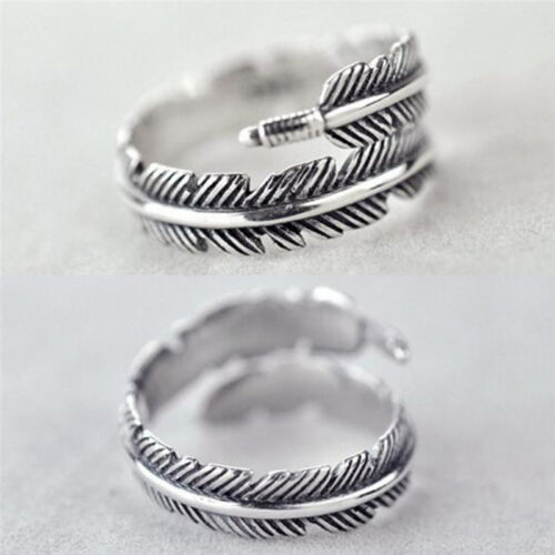 1 Pc Vintage Feather Arrow Opening Rings For Women And Men Silver Jewelry、NS