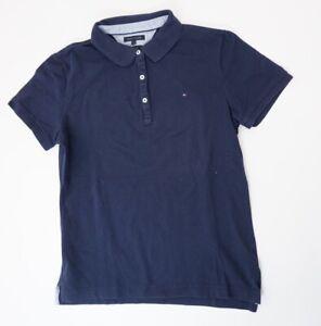 Tommy-Hilfiger-Poloshirt-Polohemd-Damen-Gr-L-blau-uni-Knopf-Pique-S1337