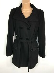 WOMENS-DOROTHY-PERKINS-BLACK-DOUBLE-BREASTED-BUTTON-UP-WINTER-COAT-JACKET-UK-10