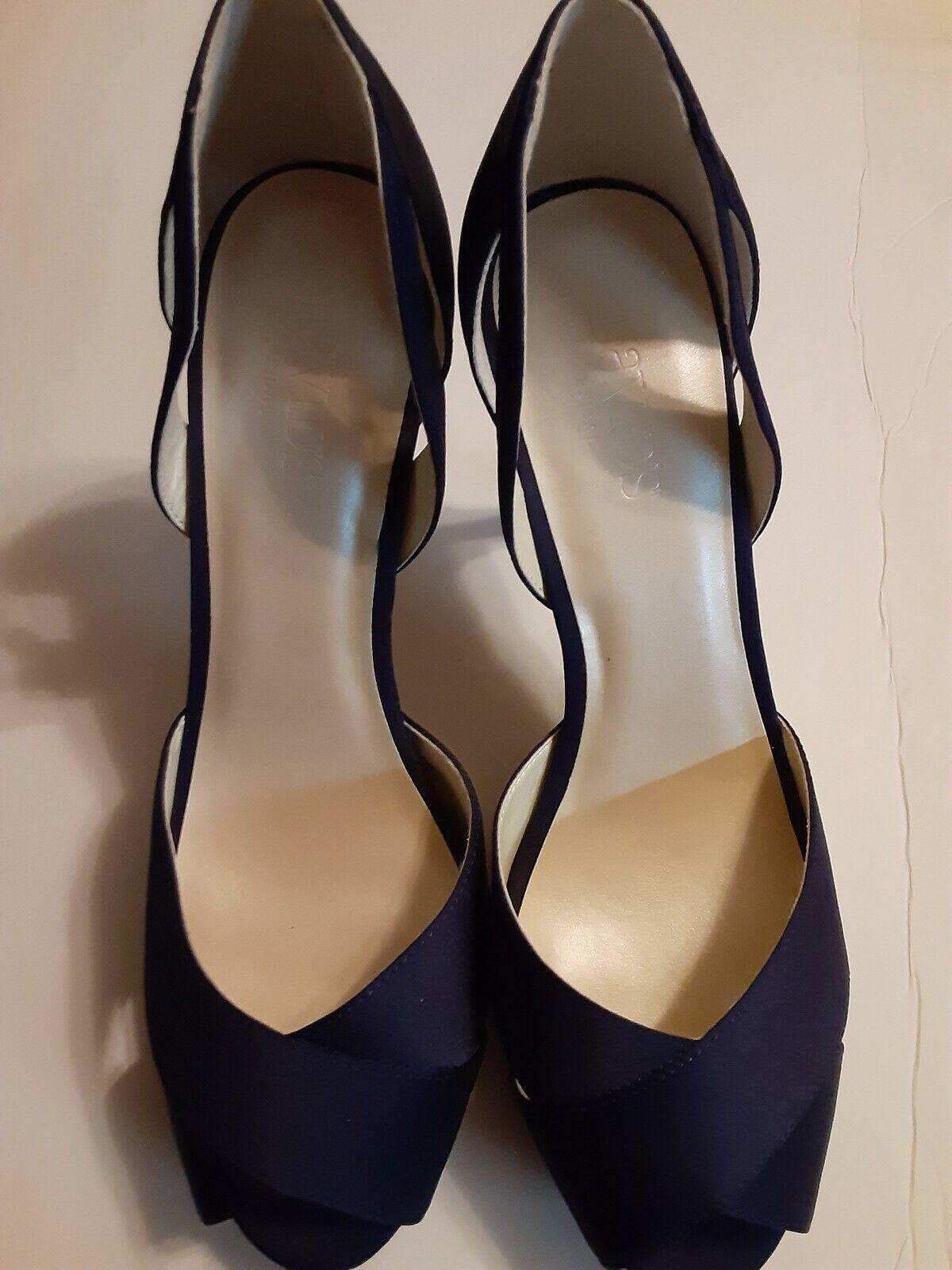 David Bridal Wedding Shoes Navy Open Toe Pumps Sz 9.5