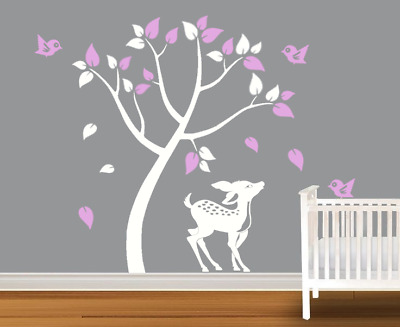 Owl Birds and butterflies Tree Wall Decal  for Kids room NU14