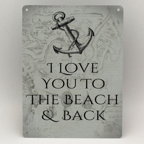 LOVE YOU TO THE BEACH Theme Metal Sign Bathroom Kitchen Garden Vintage Gift