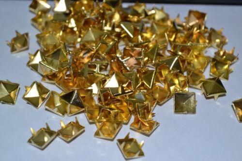 DIY12mm 100PCS GOLD Square Pyramid Punk Spike Studs Spots Fashion Rivet DIY Bags