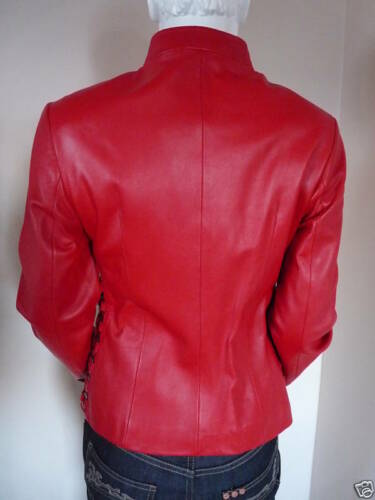 Uk Front 8 Red £399 Womens Jacket Zip Nappa Bnwt 99 Leather Short wf8X7q0