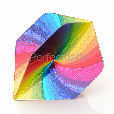 1 x SET UNICORN RAINBOW SWIRL SPIRAL METALLIC DART FLIGHTS - Standard Shape