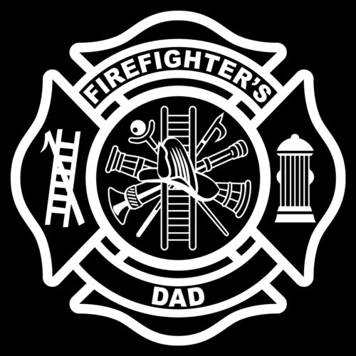 """Firefighter/'s Dad Non-Reflective White 3/"""" Maltese Cross Firefighter Decal"""