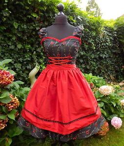a24edbd44ea6 Das Bild wird geladen 50er-Rockabilly-Petticoat-Pinup-Dirndl-Oktoberfest- Kleid-Dress-