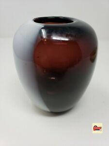 Vintage-MCM-Mid-Century-Modern-Hand-Blown-Red-amp-White-Art-Glass-Vase