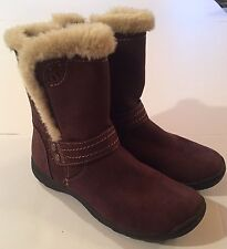 Earth Spirit Women's Suede Full Zip Boots Mid-Calf SIZE 7 Brown Faux Fur